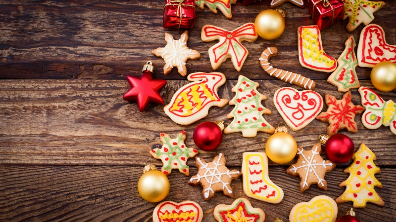 holiday cookies, baking, food, holiday, cookie, shape, herringbone, snowflake, rabbit, heart, gift . (horizontal)