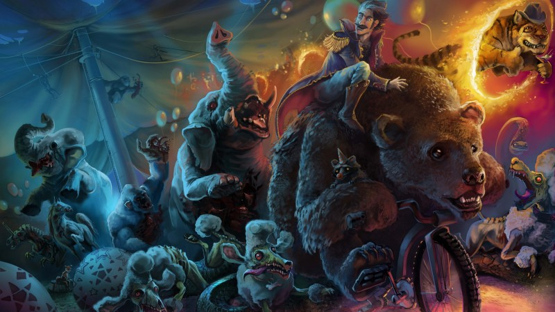 Zombie Art, Animals, bear, creature, Dark, fantasy, funny, humor, Magical, monster, circus, fire ring, tiger, elephant, art, illustration (horizontal)