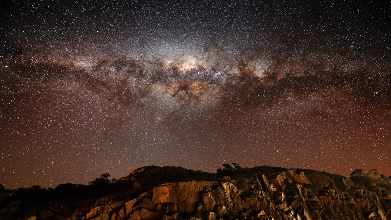 night sky, stars, night, Milky Way, mountains, land (horizontal)