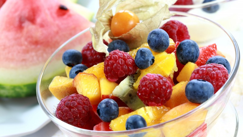 Fruits, berries, raspberry, blueberry, peach, watermelon, kiwi (horizontal)