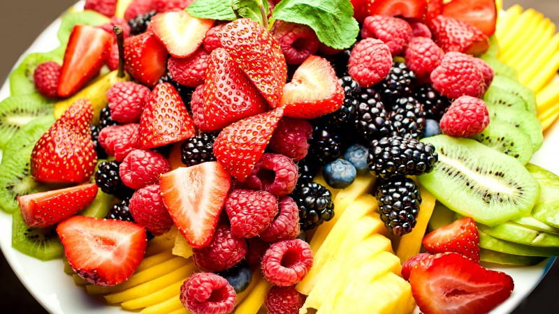 Fruits, berries, strawberry, raspberry, blackberries, kiwi