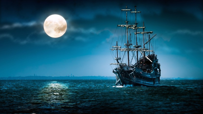 ship, sea, moon, night (horizontal)