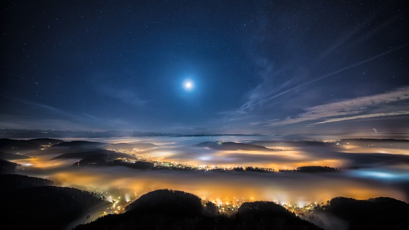 night sky, night city, earth, sky, stars, clouds, light, height, moon (horizontal)