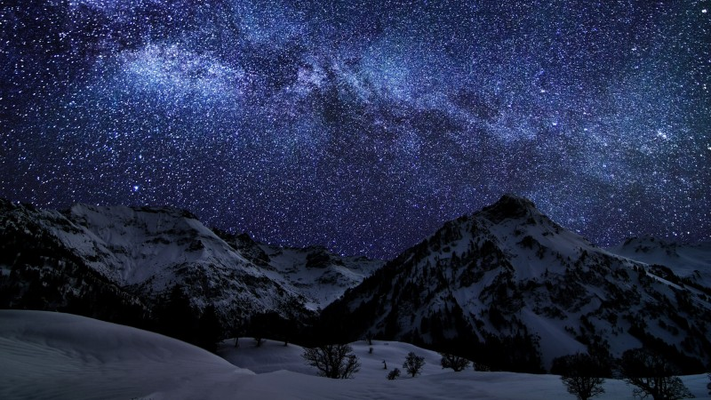 night sky, earth, sky, snow, stars, night, sea, mountain, cloud, light (horizontal)