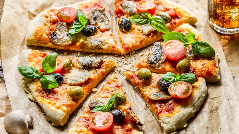 pizza, food, slices, olives, mushrooms, cherry tomatoes, basil