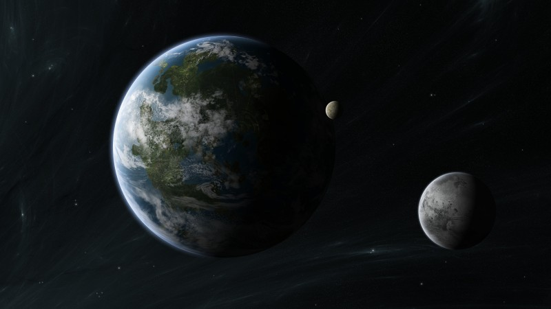 Kepler-452b, Exoplanet, Planet, space, stars (horizontal)
