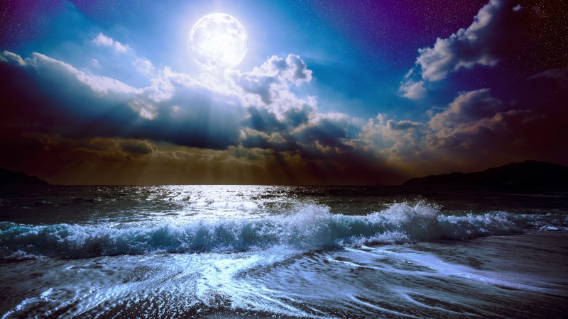 Sea, moon, clouds, sky