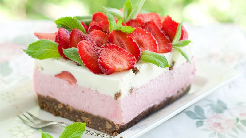 Cake, strawberry, mint, berries