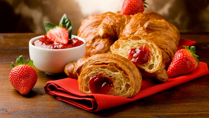 French croissants, fruit, strawberry jam (horizontal)