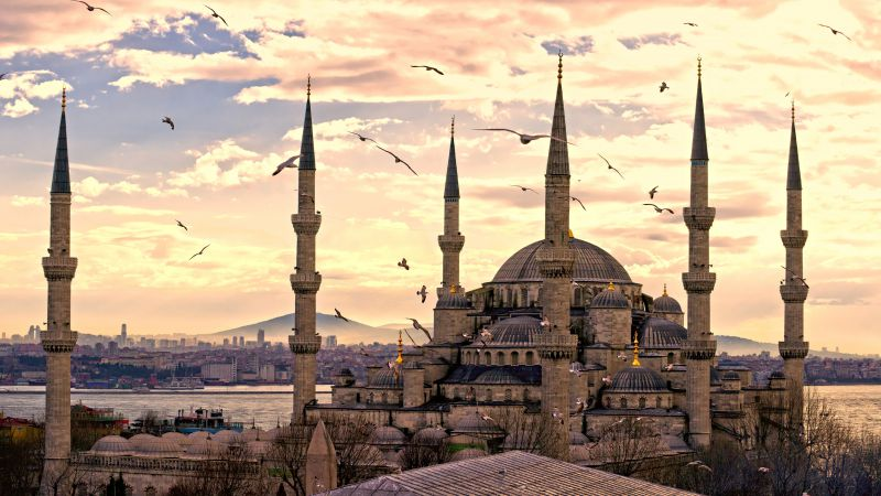 Sultan Ahmed Mosque, Istanbul, Turkey, Travel, Tourism (horizontal)