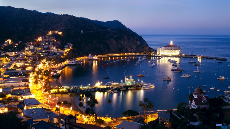 Santa Catalina Island, 5k, 4k wallpaper, California, ocean, sky, mountains, night, city, lights (horizontal)