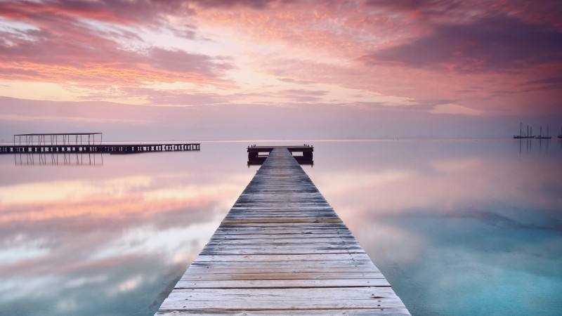 Spain, 5k, 4k wallpaper, pink, sky, clouds, ocean, bridge, reflection (horizontal)