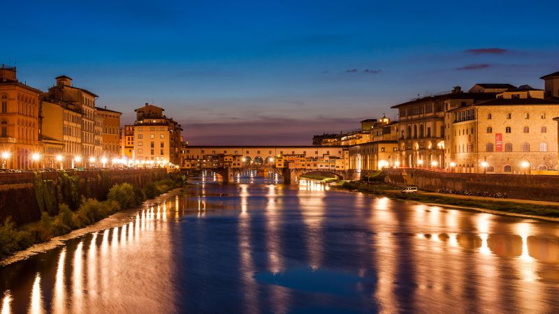 Florence, Italy, Night, Tourism, Travel