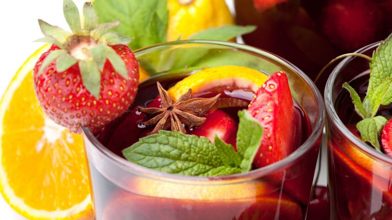 Sangria, vine, lemon, strawberry, orange, cinnamon, mint