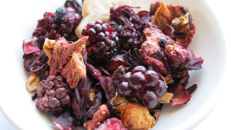 Dried fruits, blackberry, apple, banana (horizontal)