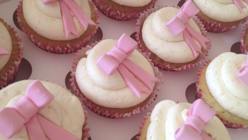 Cupcakes, cream, bow, pink