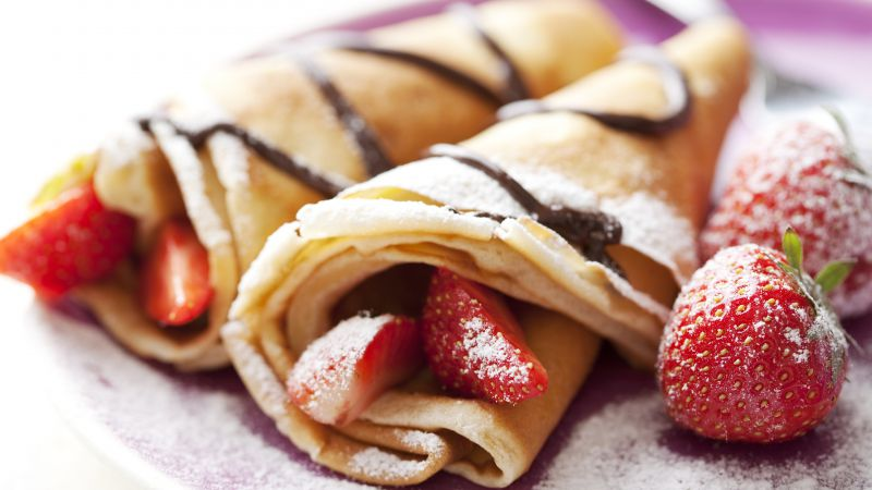 Pancakes, strawberry, chocolate