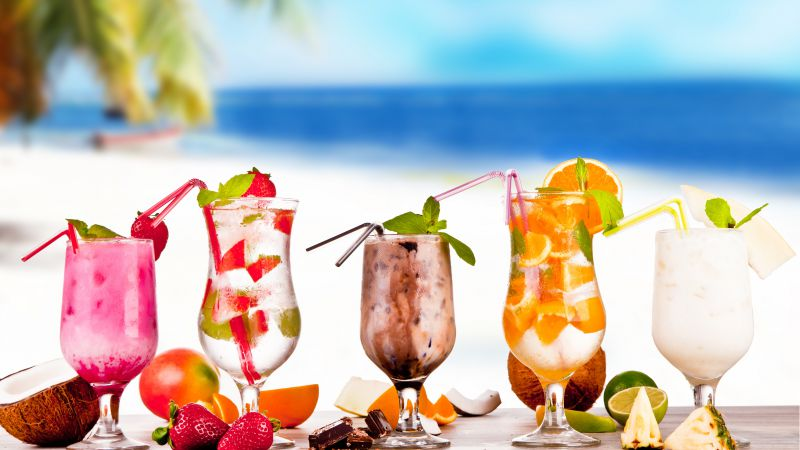 Tropical Cocktail, strawberry, coconut, chocolate, pineapple, lime, orange (horizontal)