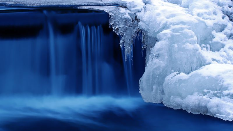 Lake, waterfall, water, snow, ice