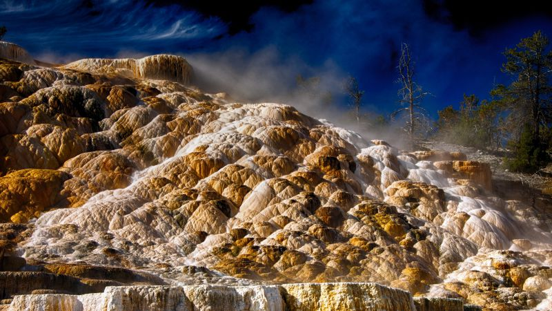 Mammoth hot springs, 4k, HD wallpaper, Yellowstone, National Park, Dakota (horizontal)