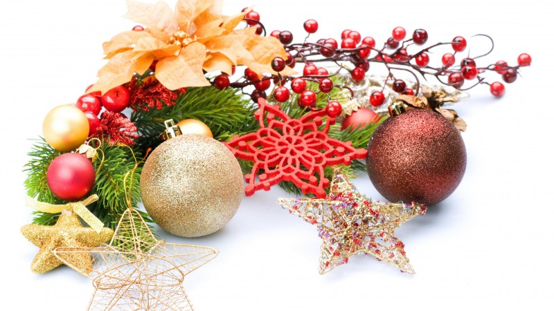 new year, christmas, decoration, leaves, twigs, balloons, stars (horizontal)