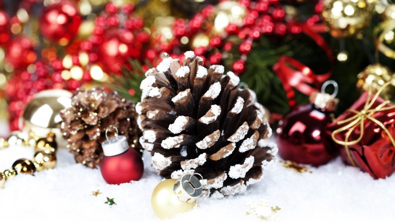 new year, christmas, decorations, balls, snow, winter, holidays, checkers, fir-tree (horizontal)