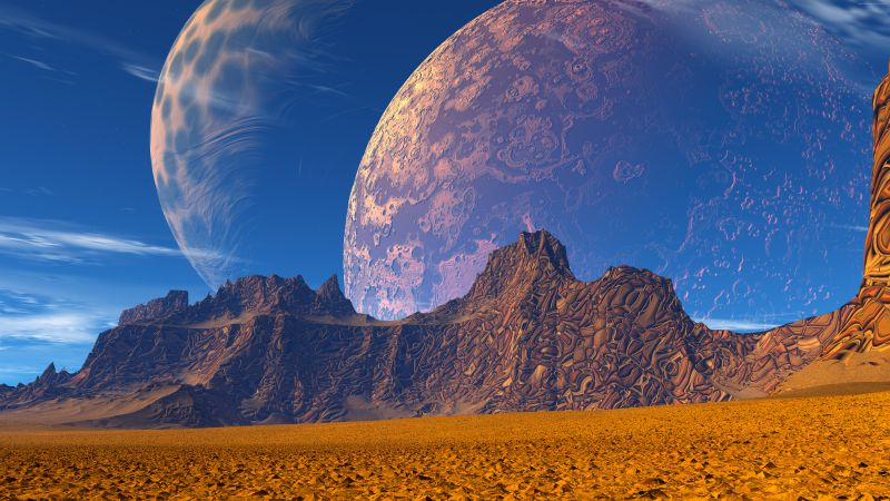 3D, Mountains, sand, planet, sky (horizontal)