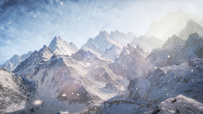 3D, Mountains, snow, clouds