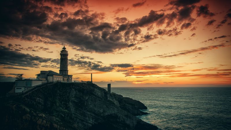 Lighthouse, HD, 4k wallpaper, rocks, sea, sunset (horizontal)