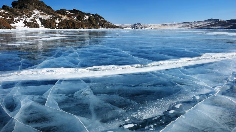 Baikal, ice, lake, mountains