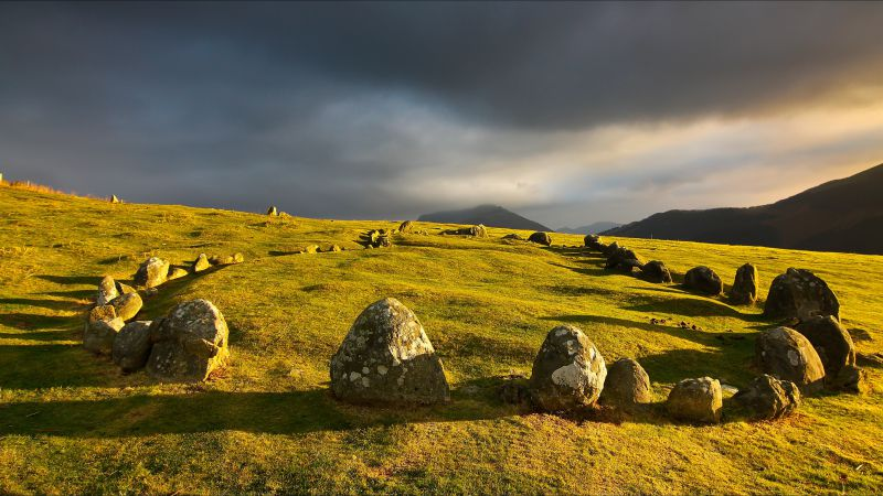 Meadows, stones, clouds
