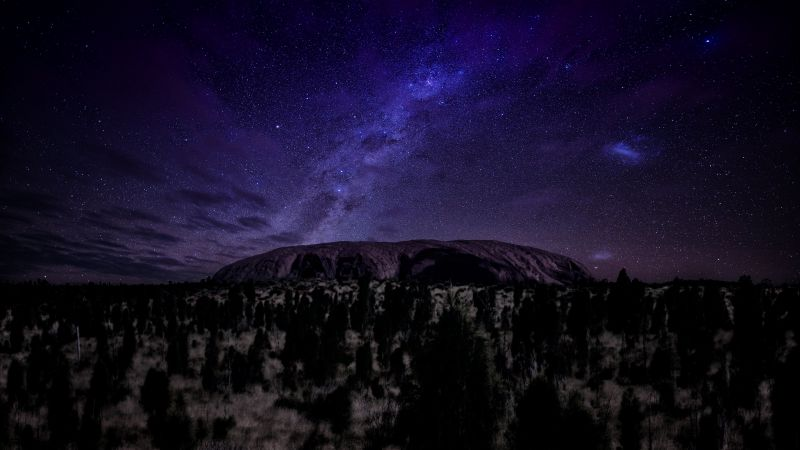 Ayers, 5k, 4k wallpaper, mountains, night, stars, trees (horizontal)