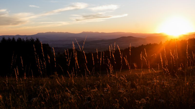 Auvergne, 5k, 4k wallpaper, France, mountains, sunset, meadows (horizontal)