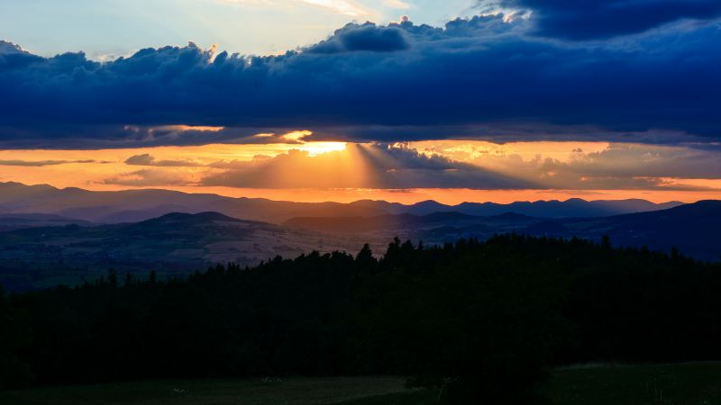 Auvergne, France, sunset, mountains, clouds, hills