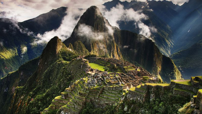 Machu Picchu, 5k, 4k wallpaper, Peru, mountains, clouds, hills (horizontal)