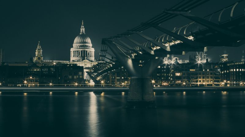UK, bridge, night, river (horizontal)