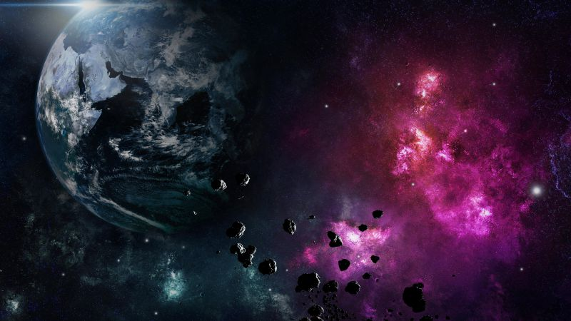 Earth, planet, space, nebula, explosion (horizontal)