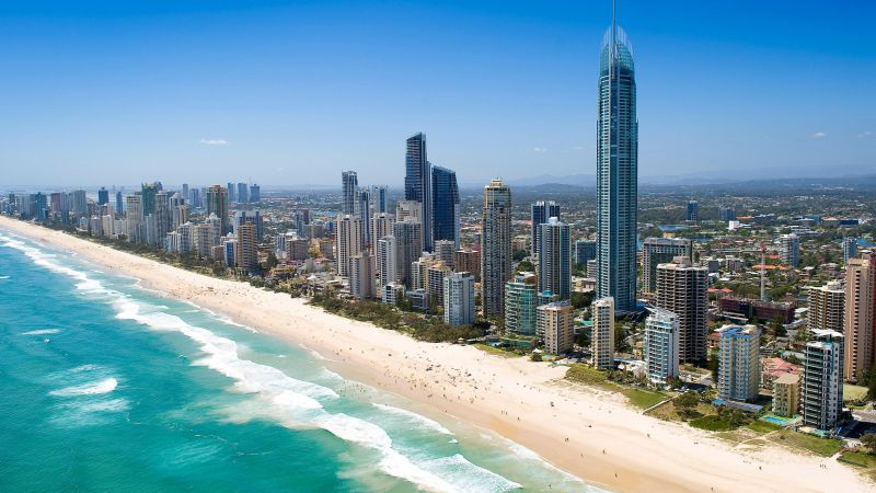 Queensland, 5k, 4k wallpaper, Australia, Pacific ocean, shore, Best Beaches in the World, skyscrapers (horizontal)