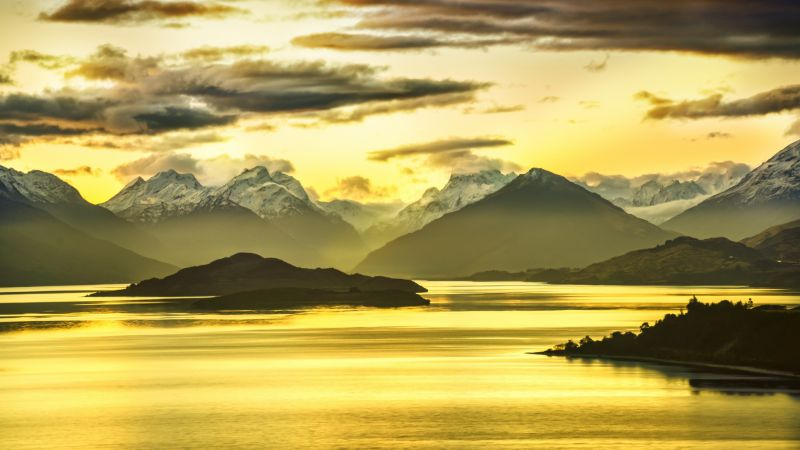 New Zealand, Mountains, lake, sunset