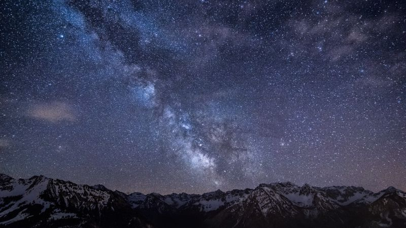 Bad Hindelang, Germany, Stars, night, mountains, nebula, Milky Way