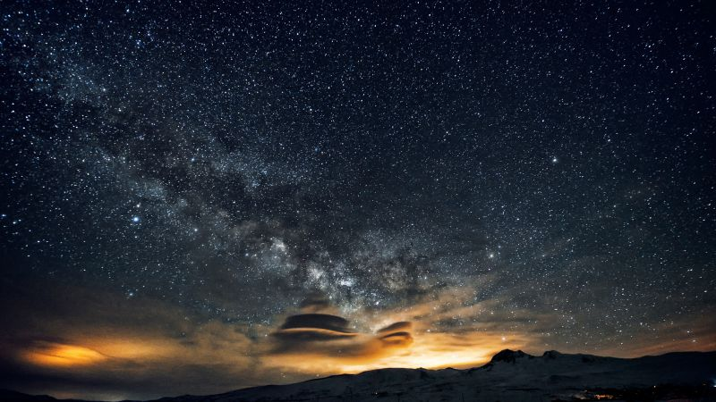 Armenia, Aragats, Stars, night, mountains, nebula