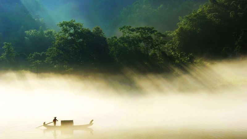 River, sunlight, trees, boat, fog