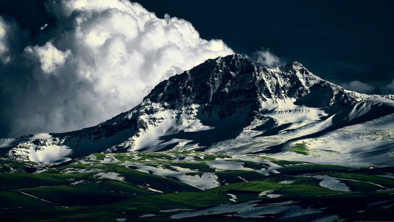 Aragats, Armenia, mountains, clouds