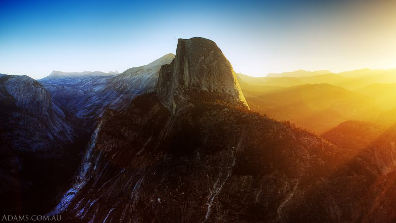 Yosemite, 5k, 4k wallpaper, 8k, Half Dome, California, Sunrise, mountain (horizontal)