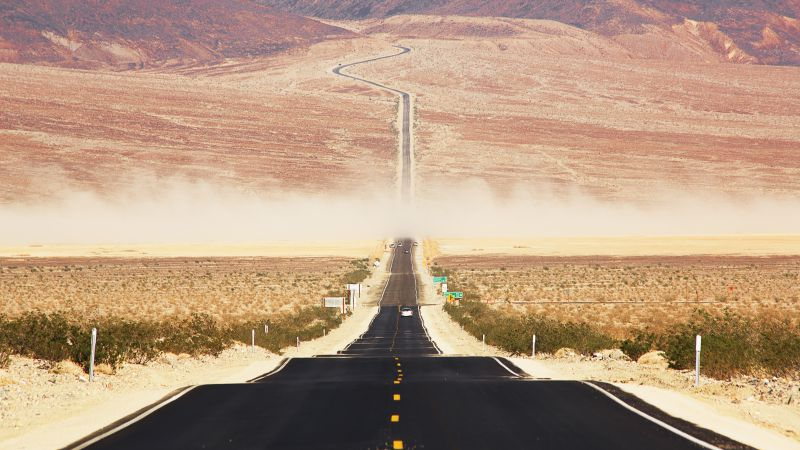 Californian desert, 4k, 5k wallpaper, 8k, road, USA, sunset (horizontal)