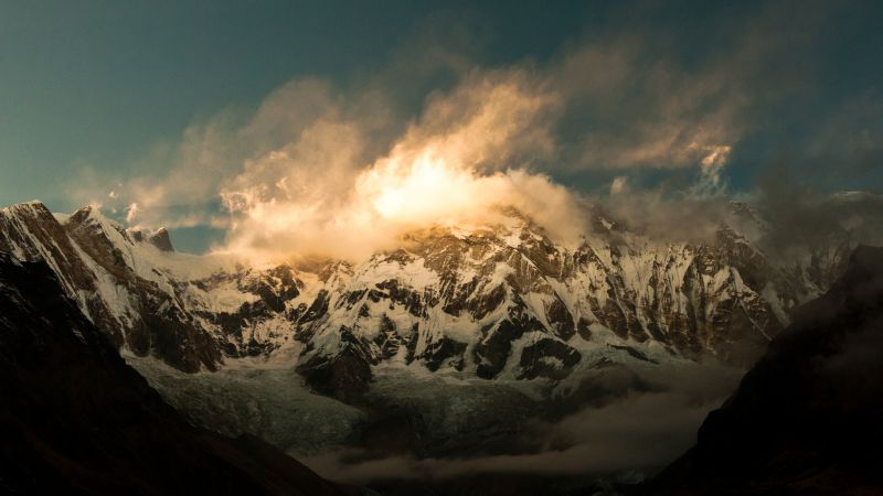 Annapurna, Himalayas, Nepal, clouds, mountain, sunset