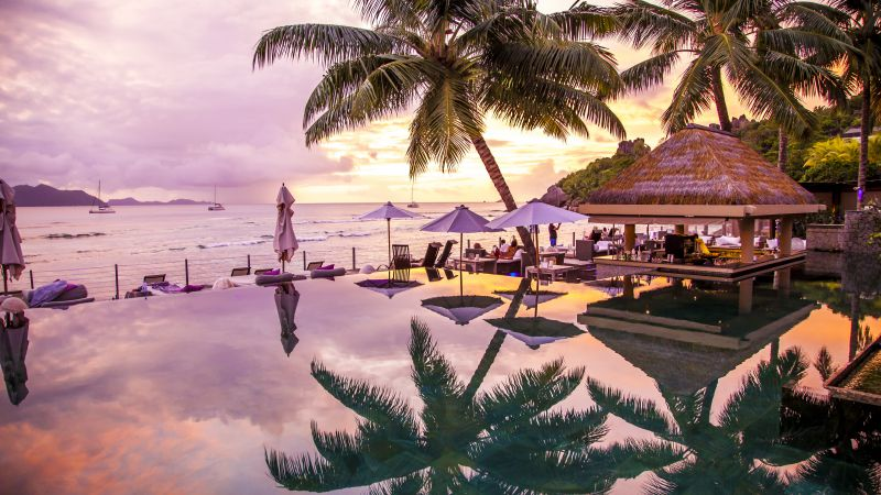 Infinity Pool, 8k, 4k wallpaper, La Digue, Praslin, Seychelles, palms, travel, tourism (horizontal)