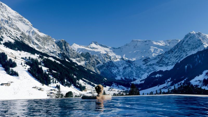 Cambrian hotel, 5k, 4k wallpaper, Switzerland, Infinity pool, pool, travel, tourism (horizontal)