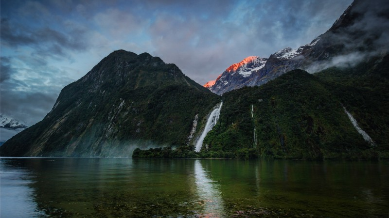 waterfalls, 5k, 4k wallpaper, mountains, sunset, lake, beach, foliage, plants, sky, clouds