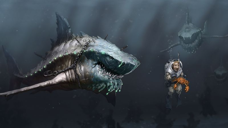 Megalodon, shark, art (horizontal)